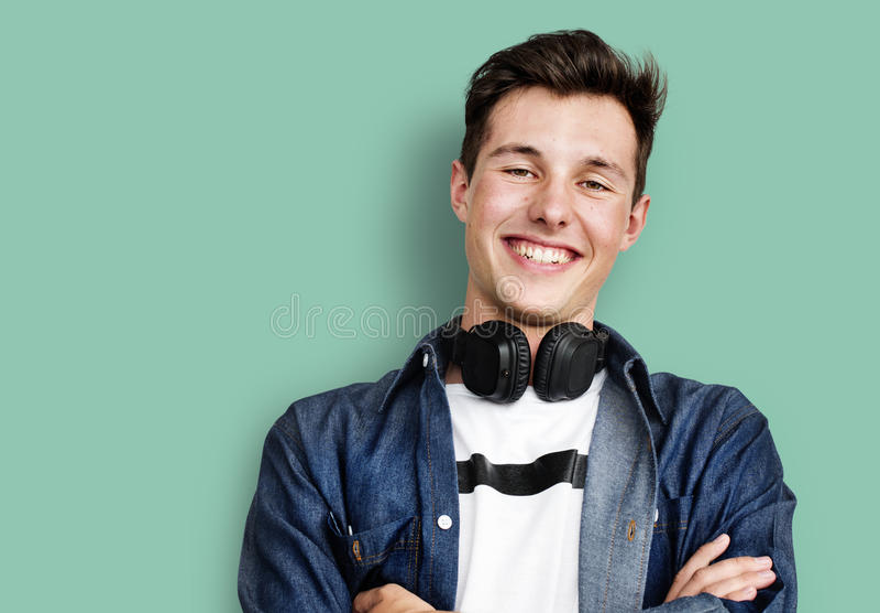 Osoba hełmofonów Słuchający Muzyczny pojęcie obrazy royalty free