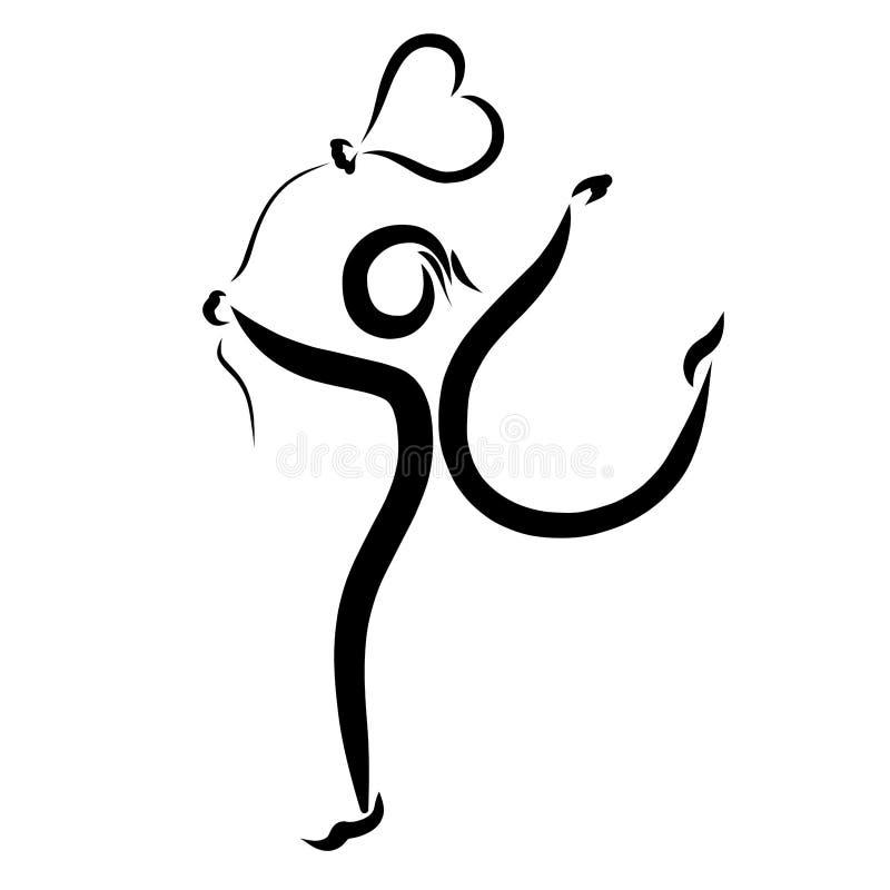 Osoba jest biegająca balon i niosąca w formie h ilustracja wektor