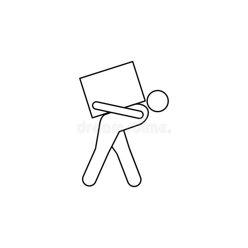 osoba na plecy niesie pudełkowatą ikonę Element mężczyzna niesie pudełkowatą ilustrację Premii ilości graficznego projekta ikona  royalty ilustracja