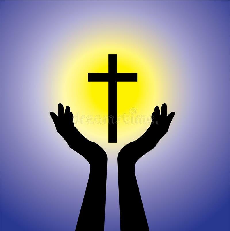 Osoba ono modli się lub uwielbia krucyfiks lub Jezus grafika royalty ilustracja