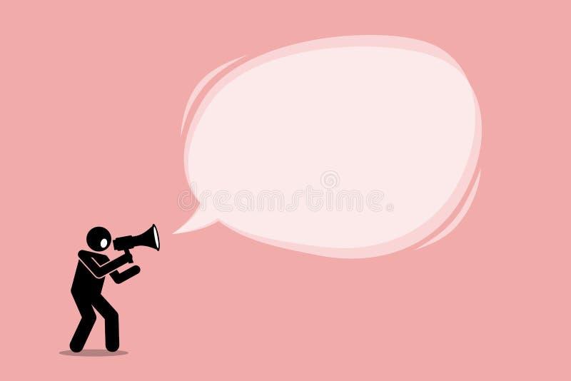 Osoba opowiada i krzyczy używać megafon royalty ilustracja