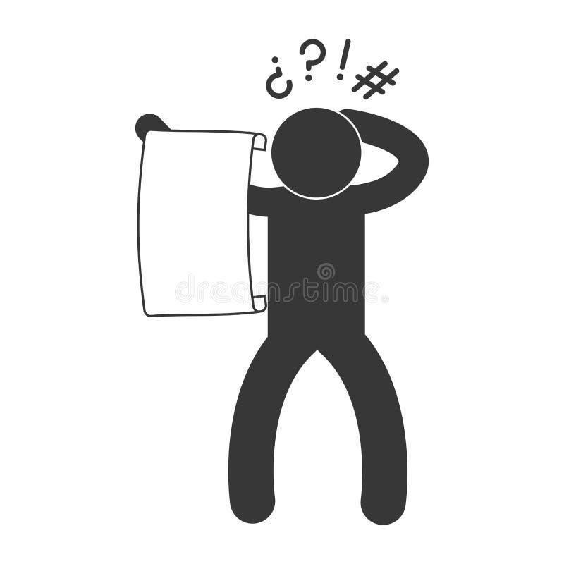 osoba piktogram czyta dużego kawałek papieru ikony wizerunek ilustracji