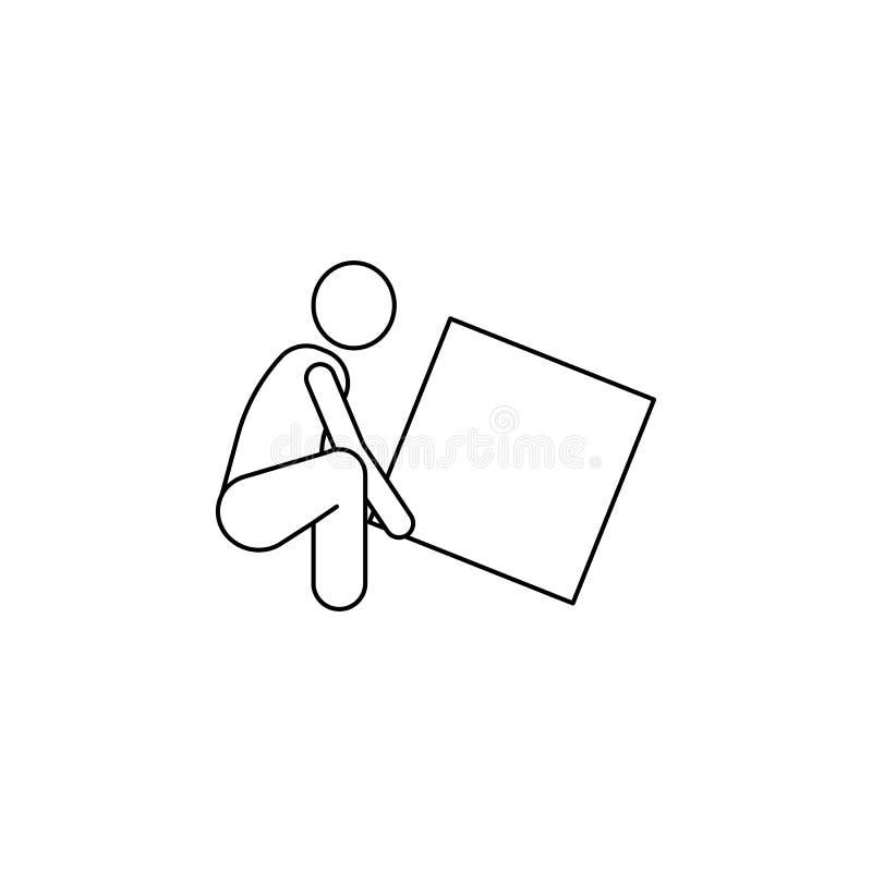 osoba podnosi pudełkowatą ikonę Element mężczyzna niesie pudełkowatą ilustrację Premii ilości graficznego projekta ikona podpisz  ilustracja wektor