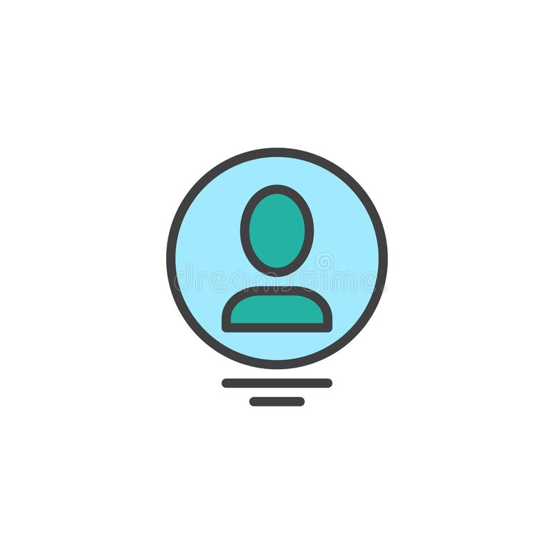 Osoba profilu okręgu konturu avatar wypełniająca ikona ilustracji