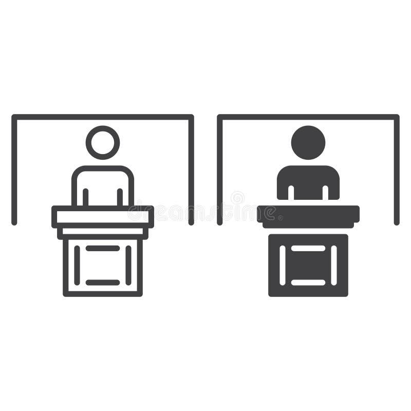 Osoba przy podium kreskowy, stałą ikona, kontur i piktogram odizolowywający na bielu, wypełniający wektoru znaka, liniowego i peł royalty ilustracja