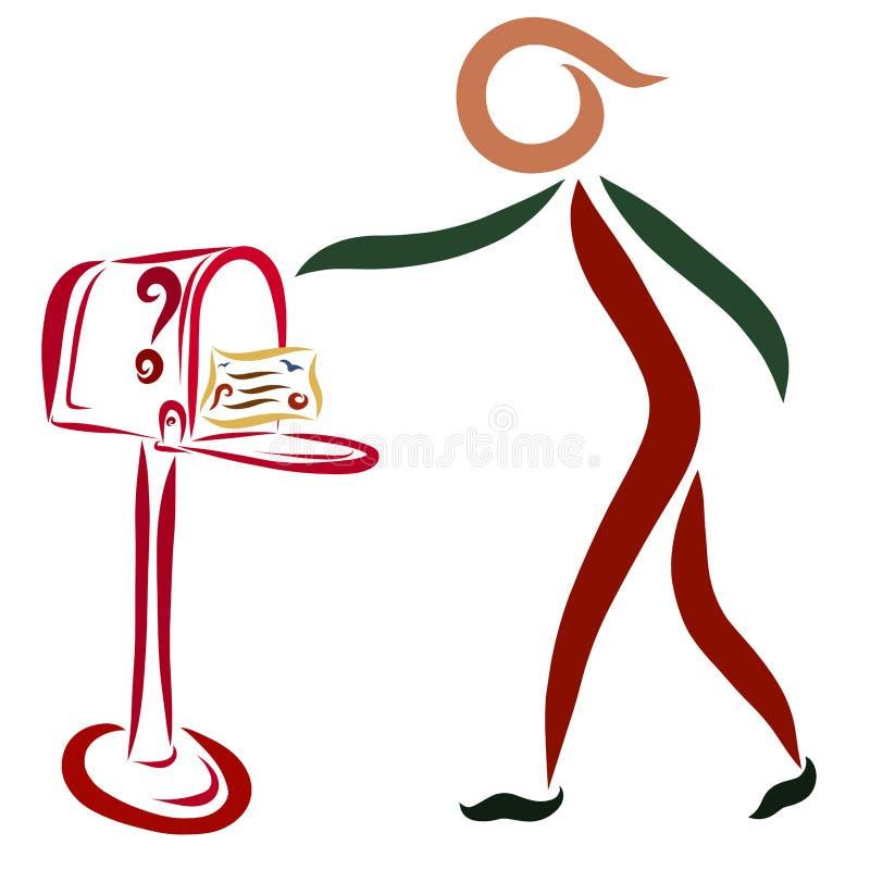 Osoba sprawdza skrzynkę pocztowa która otrzymywał poczta, royalty ilustracja