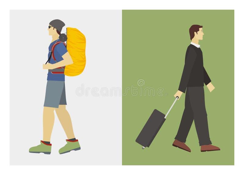 Osoba w podróży służbowej i wycieczkowicz royalty ilustracja