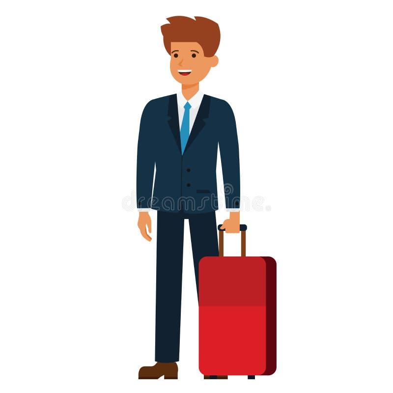 Osoba w podróży służbowej kreskówki płaski wektorowy ilustracyjny pojęcie na odosobnionym białym tle ilustracji