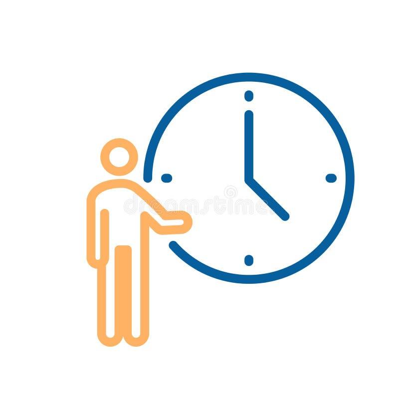 Osoba wskazuje przy zegarową ikoną Wektorowa ilustracja dla pojęć czas, spotkania, spotkania, biznesowi ostateczni terminy etc i  ilustracji