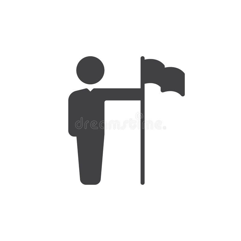 Osoba z chorągwianym ikona wektorem, wypełniający mieszkanie znak, stały piktogram odizolowywający na bielu Osiągnięcia Ñ ‹ymbol, ilustracja wektor