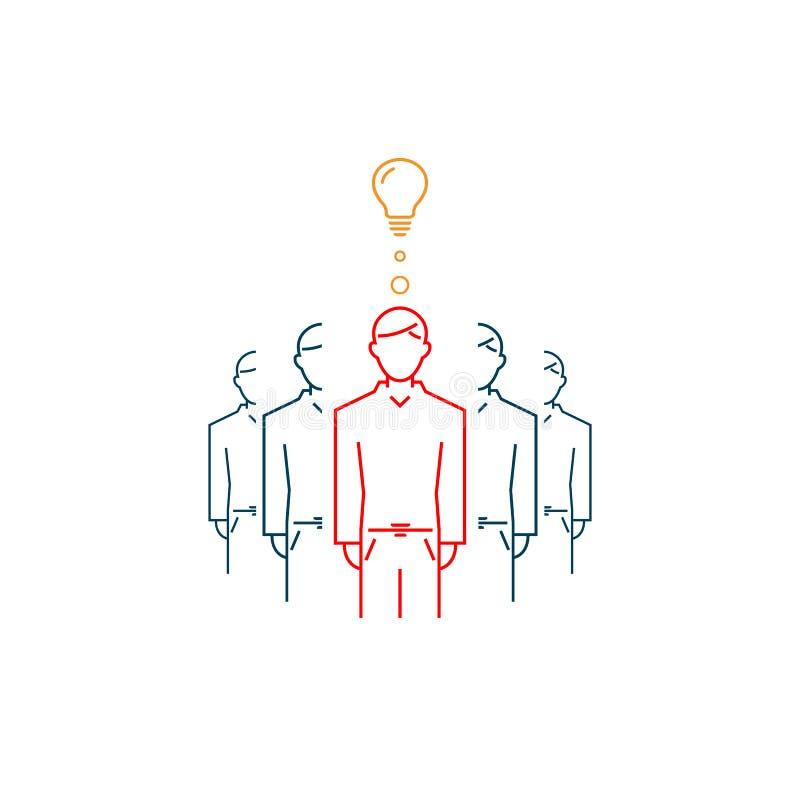Osoba z dobrym pomysłem jest różna od inny Wektoru kreskowy symbol ilustracji