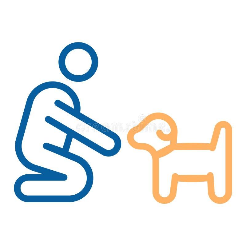 Osoba z małą psa lub szczeniaka ikoną Wektor cienka kreskowa ilustracja Może dostosowywać różnych pojęcia Zwierzęcia domowego szk ilustracji