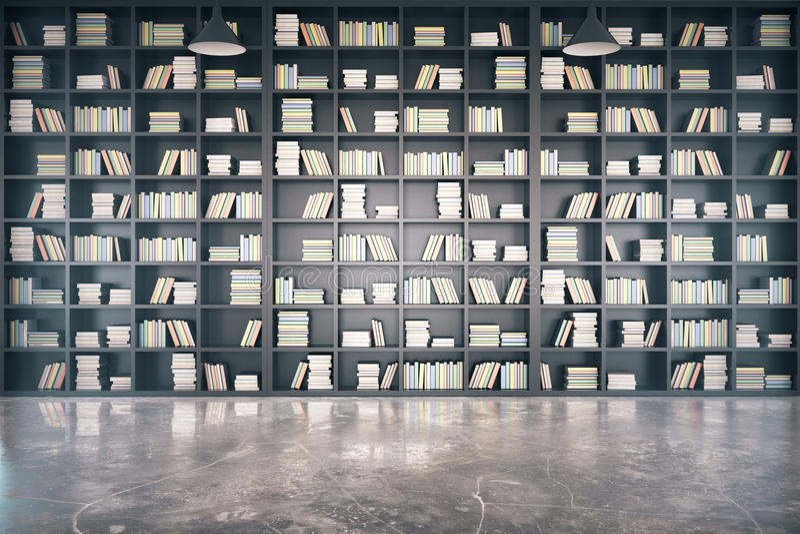 Osobista biblioteka z dużą bookcase i betonu podłoga ilustracji