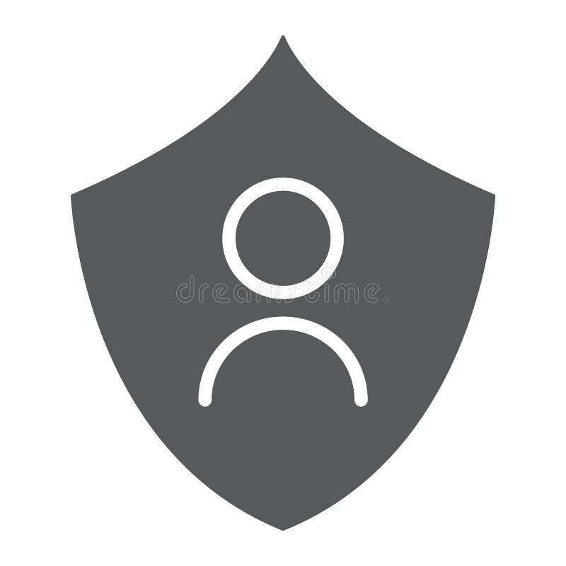 Osobista ochrona glifu ikona, prywatność i ochrona, ochrona danych znak, wektorowe grafika, bryła wzór na bielu ilustracja wektor
