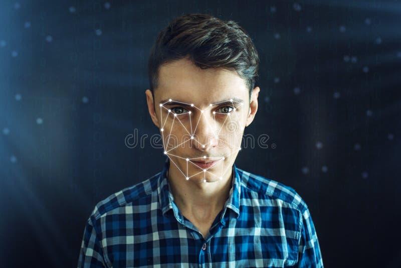 Osobista tożsamościowa metoda dla twarzy rozpoznania przez wielobok siatki Pojęcie nowożytna technologia ilustracja wektor