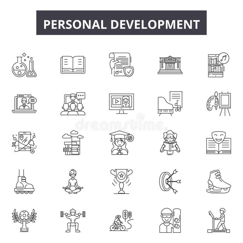 Osobiste rozwój linii ikony, znaki, wektoru set, kontur ilustracji pojęcie ilustracja wektor