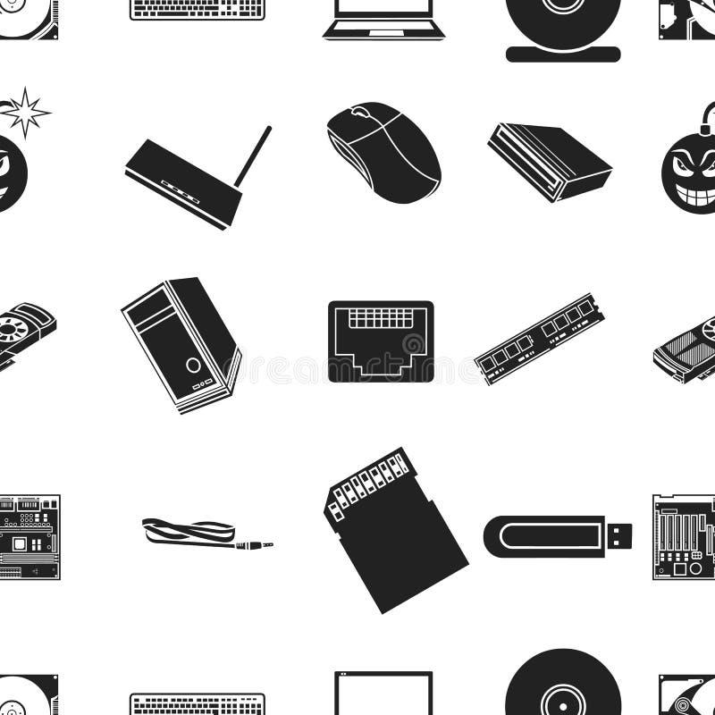 Osobistego komputeru wzoru ikony w czerń stylu Duża kolekcja osobistego komputeru symbolu zapasu wektorowa ilustracja royalty ilustracja