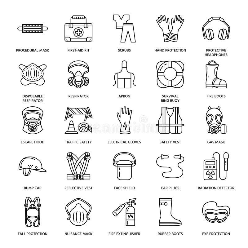 Osobistego ochronnego wyposażenia linii ikony Maska gazowa, ringowy boja, respirator, garbek nakrętka, ucho czopuje i zbawcza pra royalty ilustracja