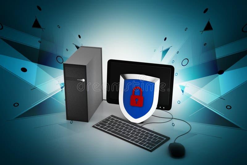 Osobisty komputer z systemem bezpieczeństwa ilustracja wektor