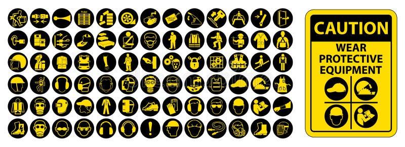 Osobisty Ochronny wyposażenie &-x28; PPE&-x29; Odizolowywa Na Białym tle, Wektorowa ilustracja EPS 10 ilustracja wektor