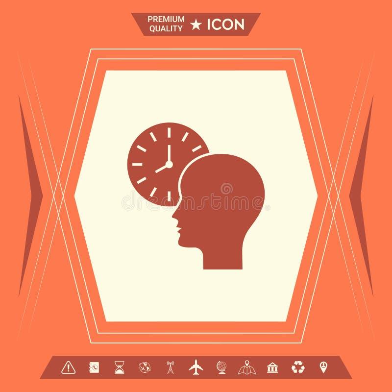 Osobisty rozkład, czasu zarządzanie, osoba z zegarek ikoną ilustracja wektor