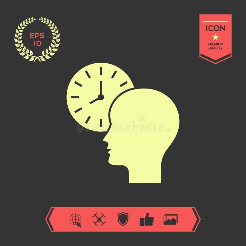 Osobisty rozkład, czasu zarządzanie, osoba z zegarek ikoną royalty ilustracja