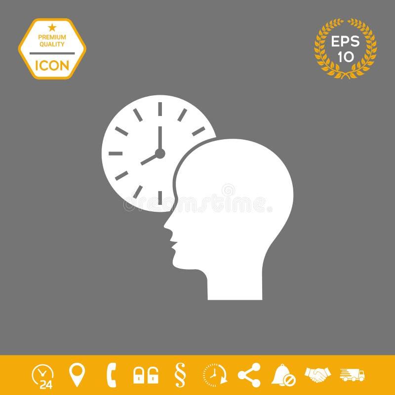 Osobisty rozkład, czasu zarządzanie, osoba z zegarek ikoną ilustracji