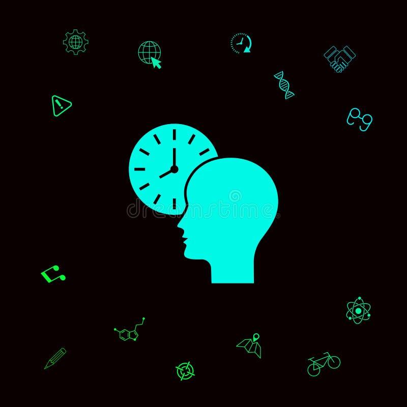 Osobisty rozkład, czasu zarządzanie, osoba z zegarek ikoną Graficzni elementy dla twój designt royalty ilustracja