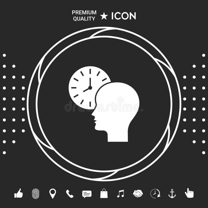 Osobisty rozkład, czasu zarządzanie, osoba z zegarek ikoną Graficzni elementy dla twój designt ilustracji