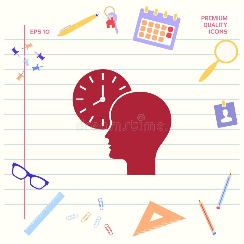 Osobisty rozkład, czasu zarządzanie, osoba z zegarek ikoną Graficzni elementy dla twój projekta ilustracji