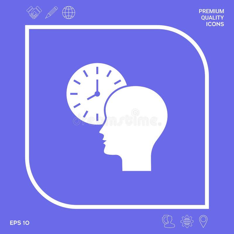 Osobisty rozkład, czasu zarządzanie, osoba z zegarek ikoną Graficzni elementy dla twój projekta ilustracja wektor