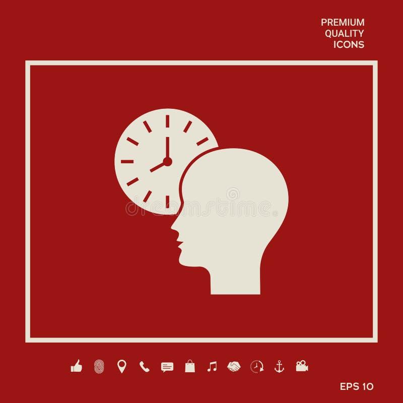 Osobisty rozkład, czasu zarządzanie, osoba z zegarek ikoną Graficzni elementy dla twój projekta royalty ilustracja