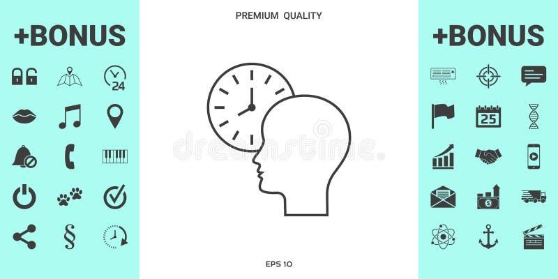 Osobisty rozkład, czasu zarządzanie, osoba z zegarkiem - kreskowa ikona royalty ilustracja
