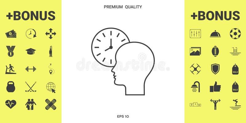 Osobisty rozkład, czasu zarządzanie, osoba z zegarkiem - kreskowa ikona ilustracji