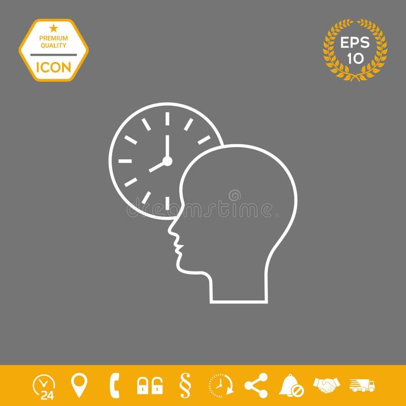 Osobisty rozkład, czasu zarządzanie, osoba z zegarkiem - kreskowa ikona ilustracja wektor