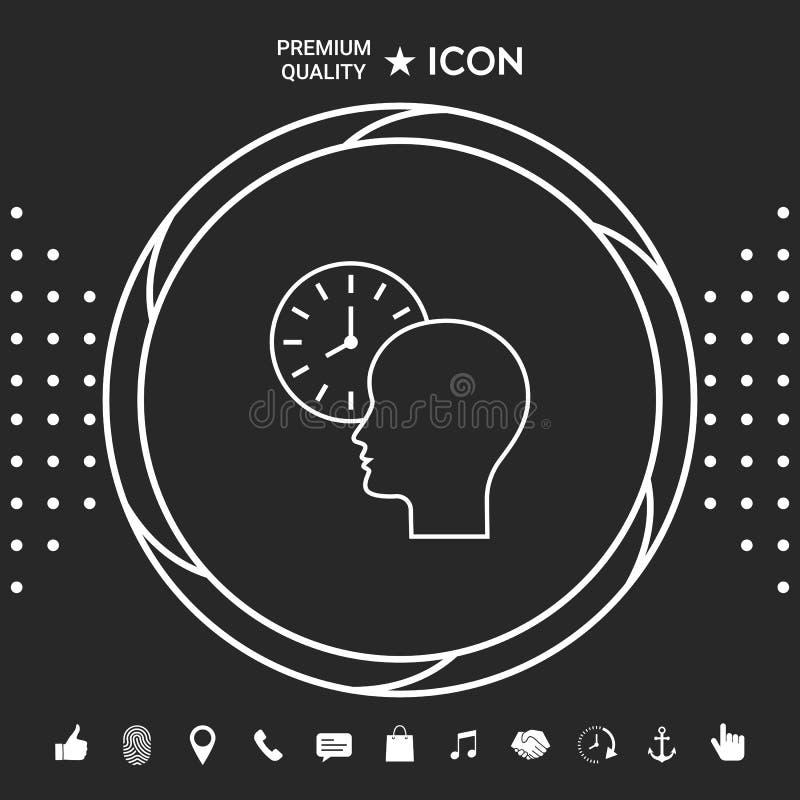 Osobisty rozkład, czasu zarządzanie, osoba z zegarkiem - kreskowa ikona Graficzni elementy dla twój designt ilustracja wektor