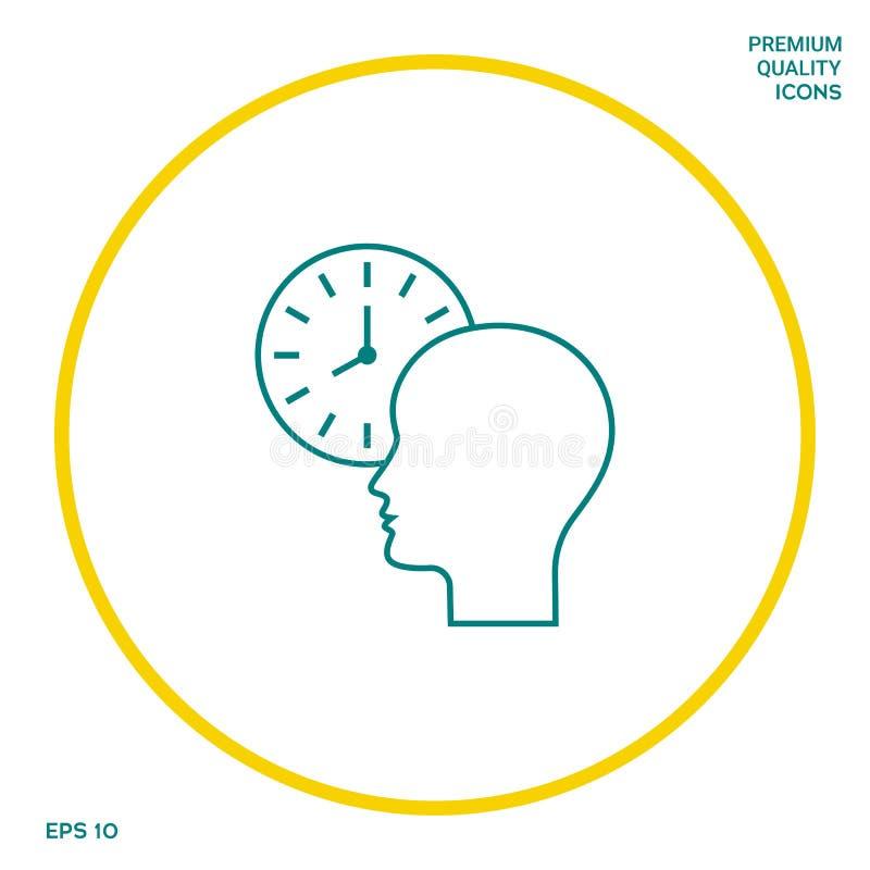 Osobisty rozkład, czasu zarządzanie, osoba z zegarkiem - kreskowa ikona Graficzni elementy dla twój projekta royalty ilustracja