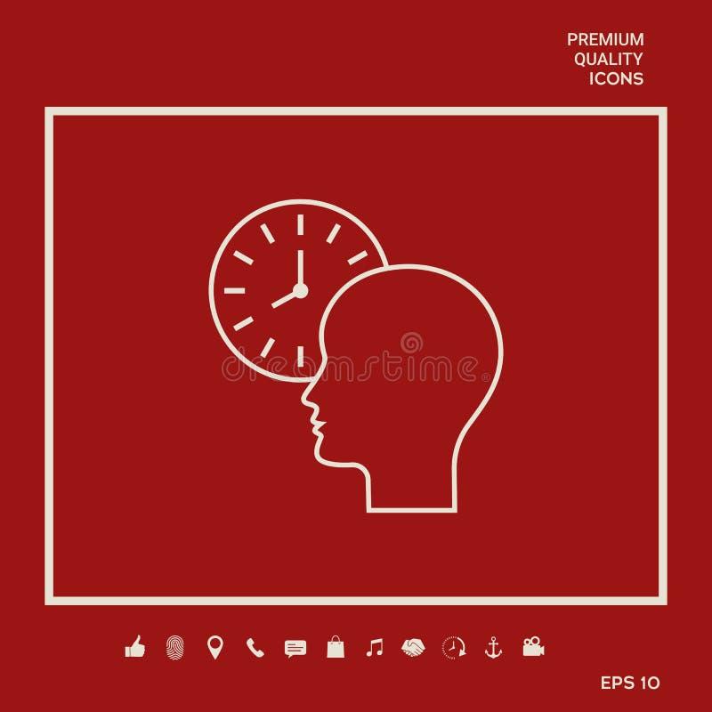 Osobisty rozkład, czasu zarządzanie, osoba z zegarkiem - kreskowa ikona Graficzni elementy dla twój projekta ilustracji
