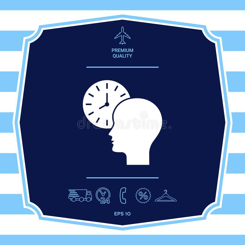 Osobisty rozk?ad, czasu zarz?dzanie, osoba z zegarek ikon? Graficzni elementy dla tw?j projekta ilustracja wektor