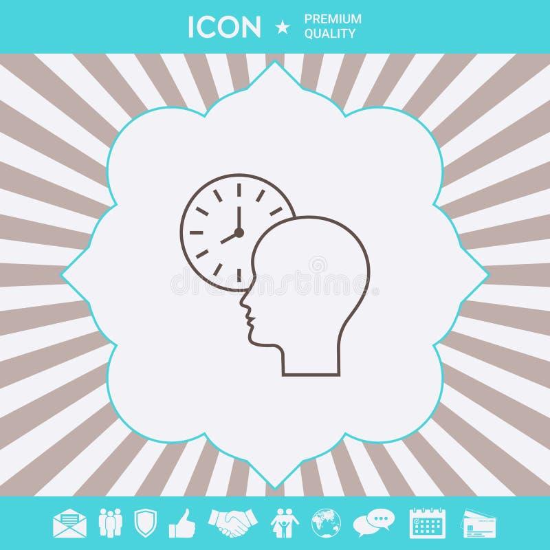 Osobisty rozk?ad, czasu zarz?dzanie, osoba z zegarkiem - kreskowa ikona Graficzni elementy dla tw?j projekta ilustracji