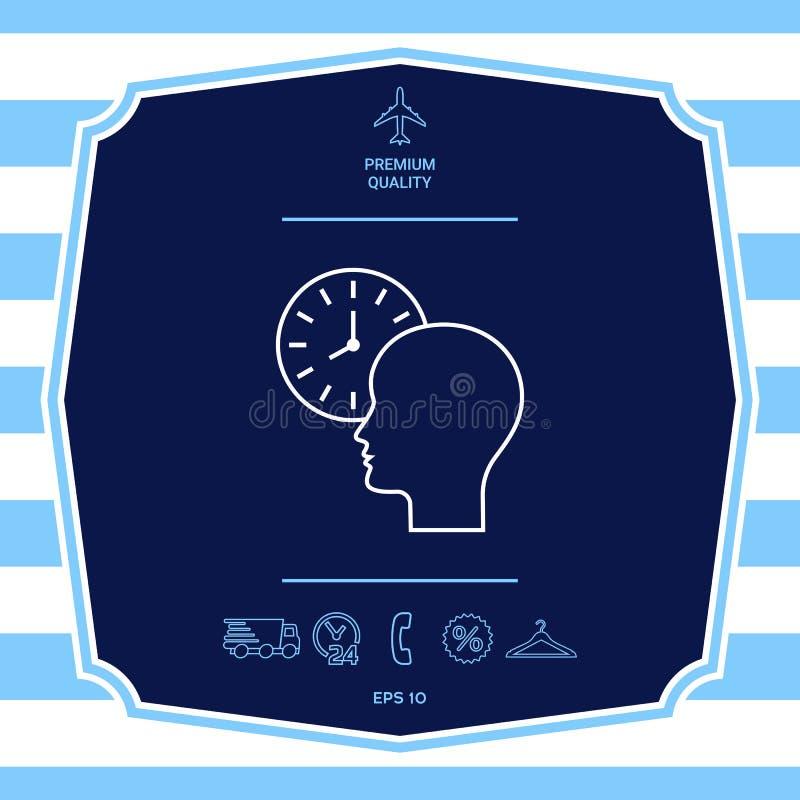 Osobisty rozk?ad, czasu zarz?dzanie, osoba z zegarkiem - kreskowa ikona Graficzni elementy dla tw?j projekta royalty ilustracja