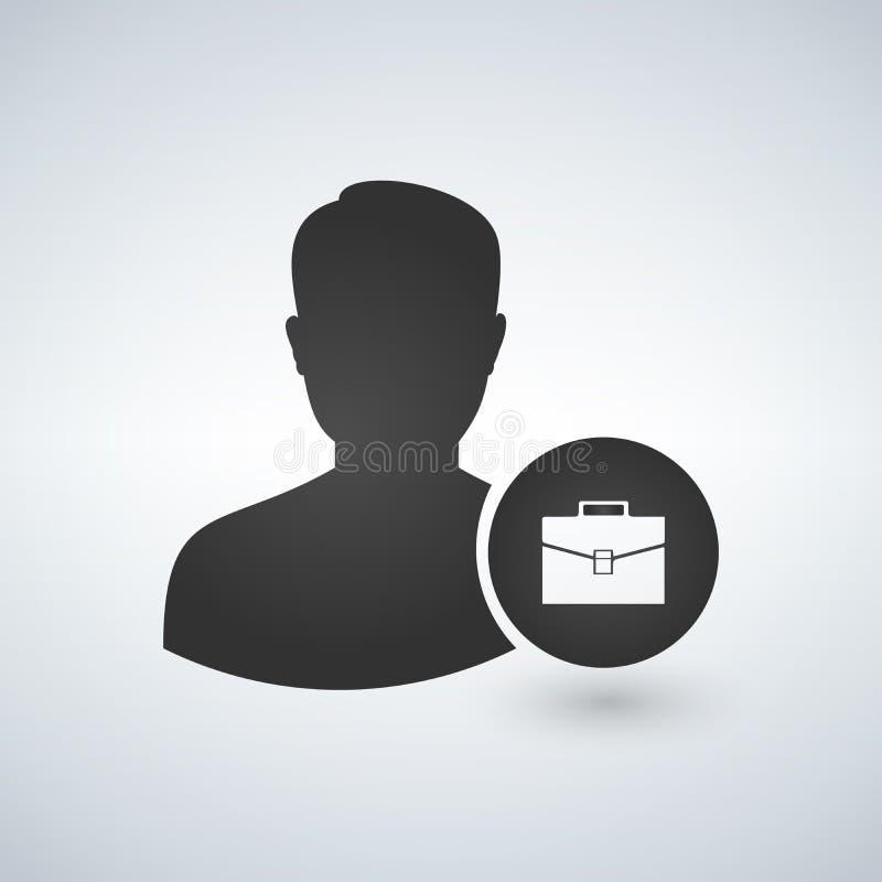 Osoby ikona - Wektorowy Biznesowego mężczyzna profilu Avatar Z teczka symbolem royalty ilustracja