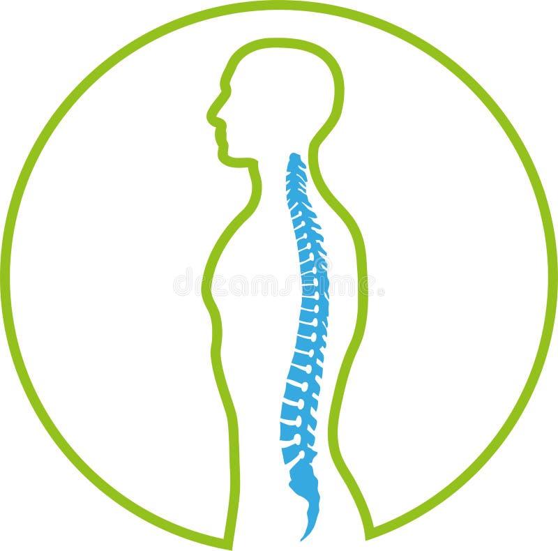 Osoby, istoty ludzkiej, kręgosłupa, Orthopedics i fizjoterapii logo, ilustracja wektor
