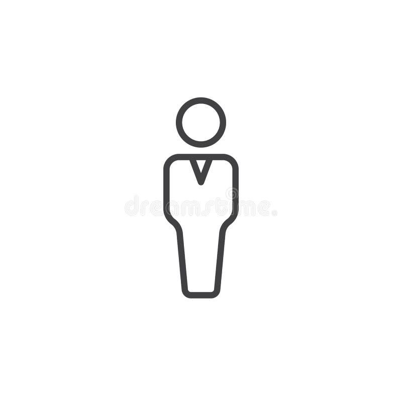 Osoby kreskowa ikona, konturu wektoru znak, liniowy piktogram odizolowywający na bielu royalty ilustracja