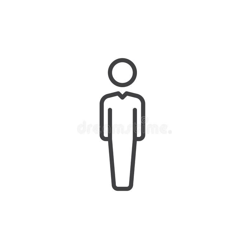 Osoby kreskowa ikona, konturu wektoru znak, liniowy stylowy piktogram odizolowywający na bielu Użytkownika symbol, logo ilustracj ilustracji