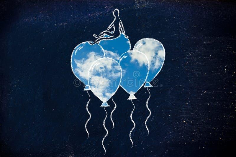 Osoby obsiadanie metafora uczucie na balonach, (z niebo pełnią) ilustracji