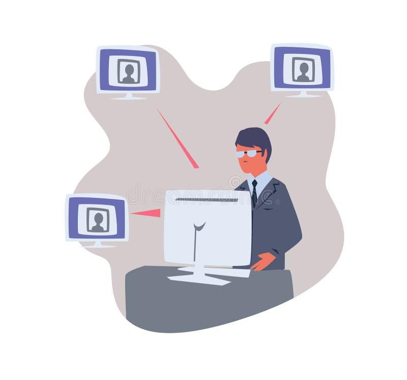 Osoby obsiadanie przy komputerem i pracy z ludzkimi profilami Kadrowy pracownika lub ogłoszenie towarzyskie dane ochrony oficer royalty ilustracja