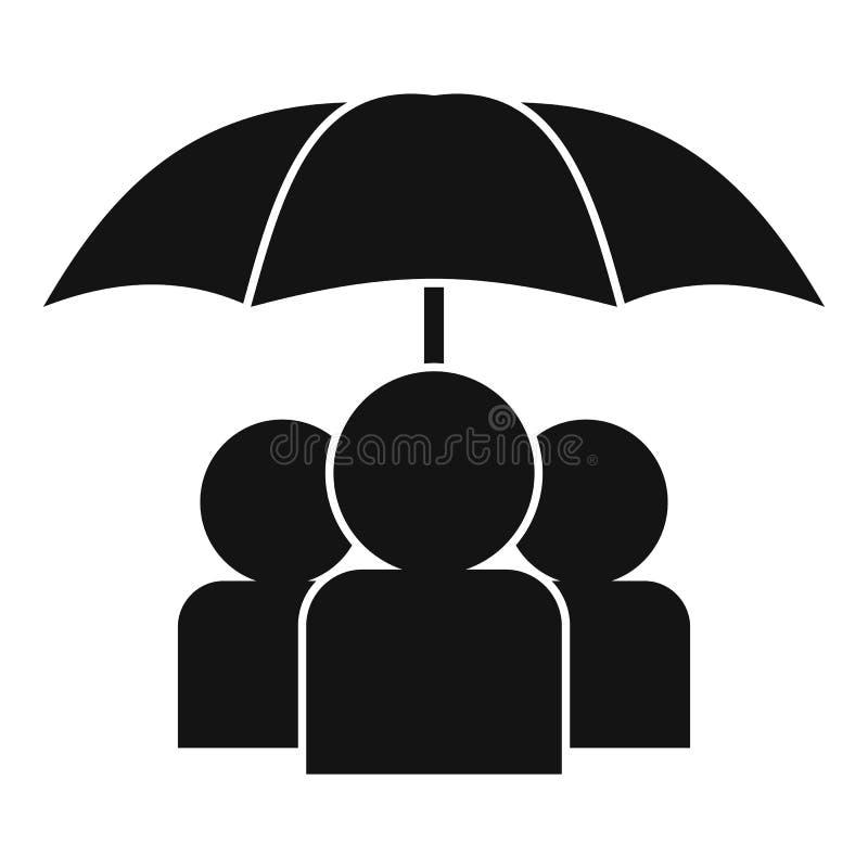Osoby pod ikoną parasolki, styl prosty ilustracji