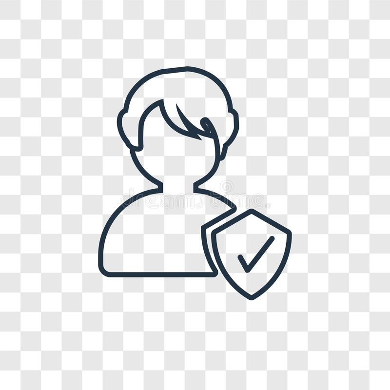 Osoby pojęcia wektorowa liniowa ikona odizolowywająca na przejrzystym backgr ilustracji