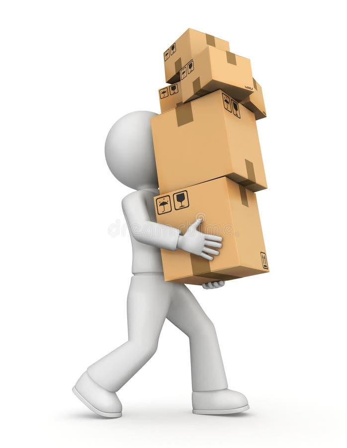 Osoby przewożenia pudełka ilustracji